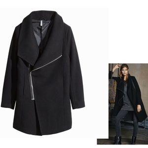 Divided H&M Wool Blend Asymmetrical Coat Large